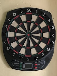 Red white and black electric dart board