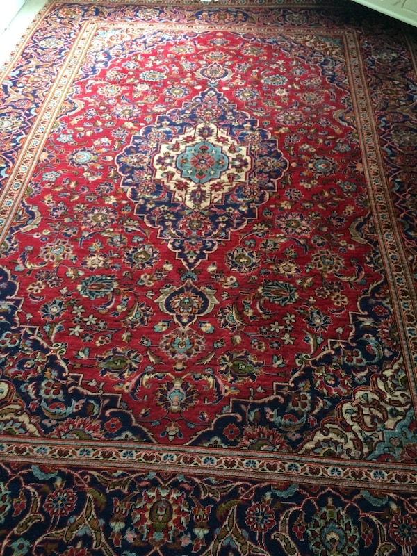 Vintage Persian Kashan Hand Knotted Wool Area Rug