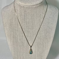 Sterling Silver & Opal Pendant with Sterling Rope Chain Chantilly, 20151