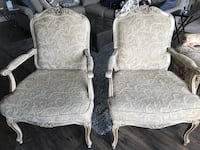 two white floral padded armchairs Lago Vista, 78645