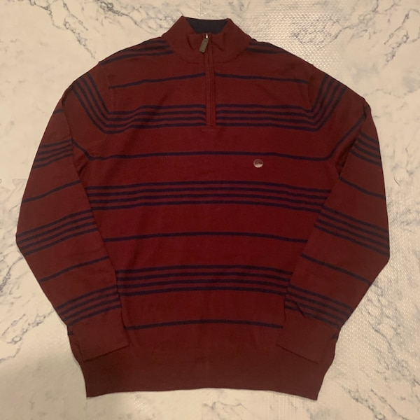 NWT Chaps Men's Striped Mockneck Sweater Large 0