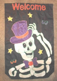 LARGE DOUBLE-SIDED HALLOWEEN WELCOME FLAG Blaine