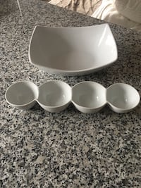 White ceramic bowl and plate