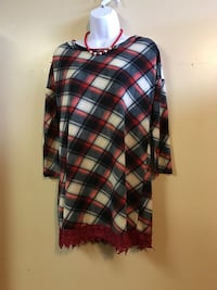 black, brown, and white plaid laced crew neck dress