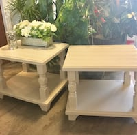 2 matching side/ end tables with chevron design  , L3B