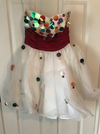 Strapless polka dot sequin dress