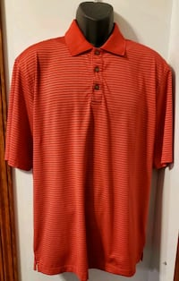 KirkLand Red With White Stripes Short Sleeve Collared Shirt Middletown, 21769