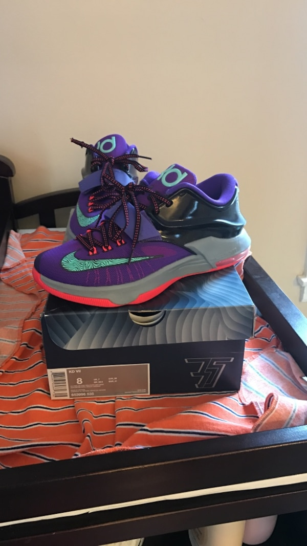 df666da7bfb4 Used pair of grey-purple-black Nike Kevin Durant basketball shoes on box  for sale in Louisville - letgo