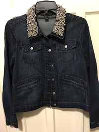 Forever 21 Black Denim Jacket with Silver Beaded Collar Toronto, M8V 4E8