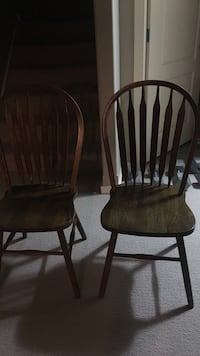 2 wood dinner table chairs