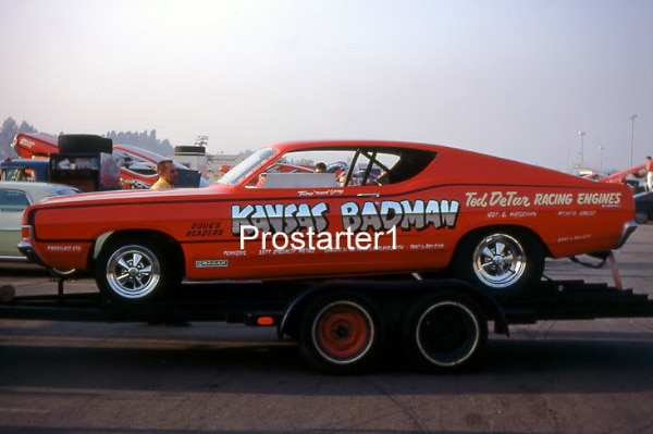 4x6 Color Drag Racing Photo Ted DeTar KANSAS BADMAN 1968 Ford Torino Funny  Car