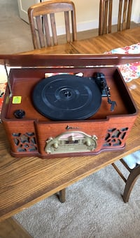 Record player and remote w/43 records