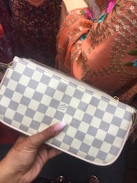 white and gray checkered leather bag Surrey