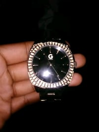 round silver-colored analog watch with link bracelet Washington, 20002