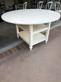 Round white wooden side table Dana Point, 92624