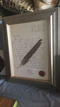 Framed French love letter with real feather and wax fleur-de-lys seal  Lakeville, 55044
