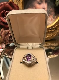 Beautiful! Silver Purple Ring with  diamond crystals stones  Gainesville, 20155