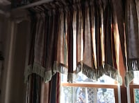 "Burgundy, navy, and gold, fully lined curtain and valance. 84"". Hopewell, 08302"