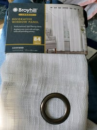 "Broyhill 84"" grommet white curtain panel, NEW still in pkg"