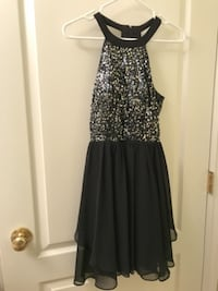 Black and Silver Glitter Halter Top Party Dress Kelowna
