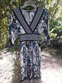 black and white floral long-sleeved dress Plant City