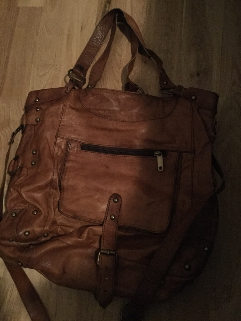 Brown leather two way bag