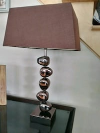 black metal base with brown lampshade table lamp Montréal, H1E 0V3