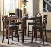 CLEARANCE] Bennox Brown 5-Piece Square Counter Height Set | D384 Houston, 77036