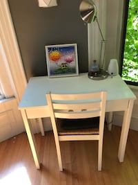 White desk with chair and lamp