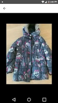 black, white, and pink Monster High print parka jacket