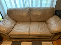 3 peace set couch love seat and arm chair. Real leather excellent condition  Surrey, V3S