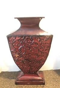 "Decorative metal maroon and black 19"" vase Woodbridge"