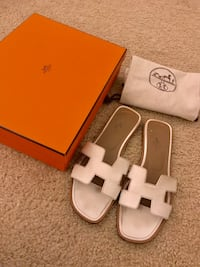 pair of white leather open toe ankle strap sandals Los Angeles, 90020