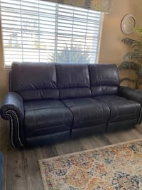 Blue Recliner Sofa and Loveseat Set