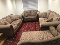 Brown and white floral sofa set