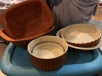 6 piece terracotta baking/cooking dishes 799 km
