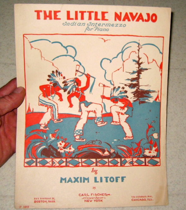 1929 THE LITTLE NAVAJO ANTIQUE CHILDRENS 2ND GRADE PIANO LESSON SHEET MUSIC  / NATIVE AMERICAN WAR DANCE / ANTIQUE SCHOOL BOOK