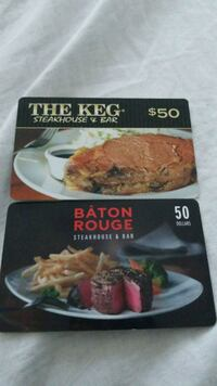 two gift cards worth $100.00 Markham, L3T