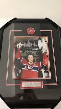 Signed Jean Beliveau Plaque with certificate of authenticity