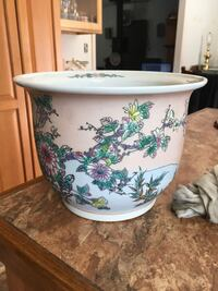 white and green floral ceramic bowl Monroe, 10950