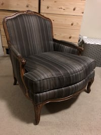 brown wooden framed gray padded armchair Bethesda, 20814