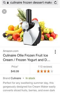 Black and silver culinaire ollie frozen fruit ice cream frozen yogurt maker Nashville, 37013