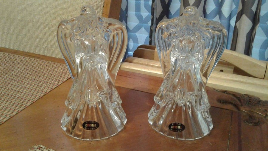 Crystal Clear Candle Holders Angels (Set of 2) 24% Lead Crystal 1