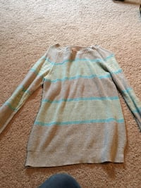 brown and blue striped scoop-neck sweatshirt Powhatan, 23139