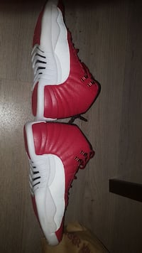 red-and-white Air Jordan 12's