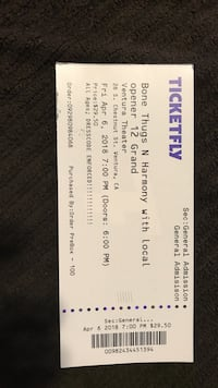 Bone Thugs Ticket for April 6 Oxnard, 93036