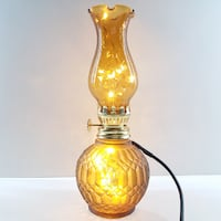 Vintage Amber Color Special Pattern Base with Amber Glass Chimney Oil Lamp w/ LED Lights 13089 km