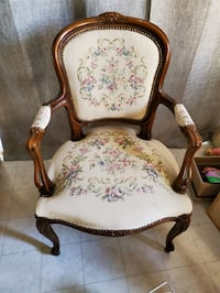 Antique chair with embroidered seat, back & arms & carved wood frame Olney, 20832