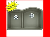 Blanco Diamond Undermount Granite Composite 32 In. 0-Hole Reverse With Low Divide Double Bowl Kitchen Sink In Truffle NEW Plantation