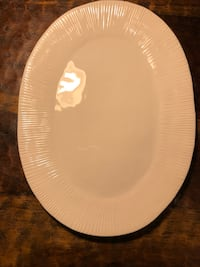 White Glass Stoneware Serving Plate